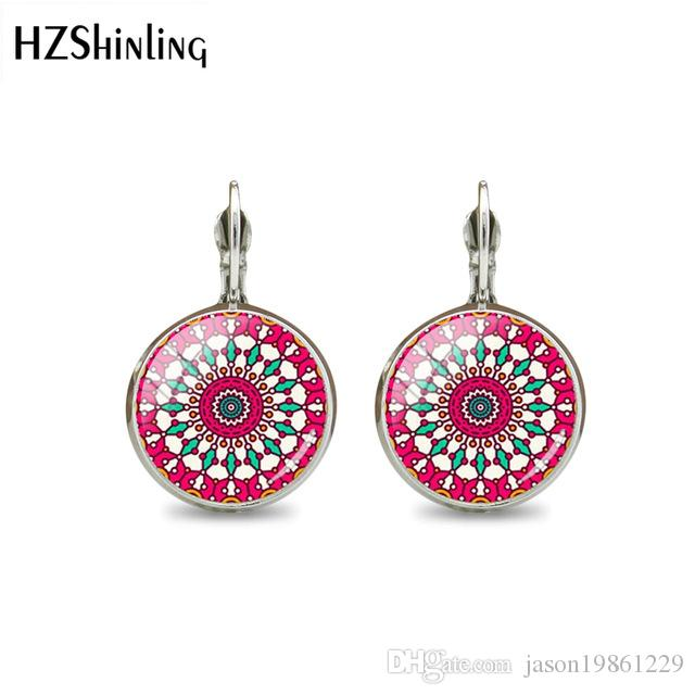 2019 New Fashion Silver & Antique Bronze Color Flowers Hook Earrings Handcrafted Glass Dome Earrings High Quality Gift For Women