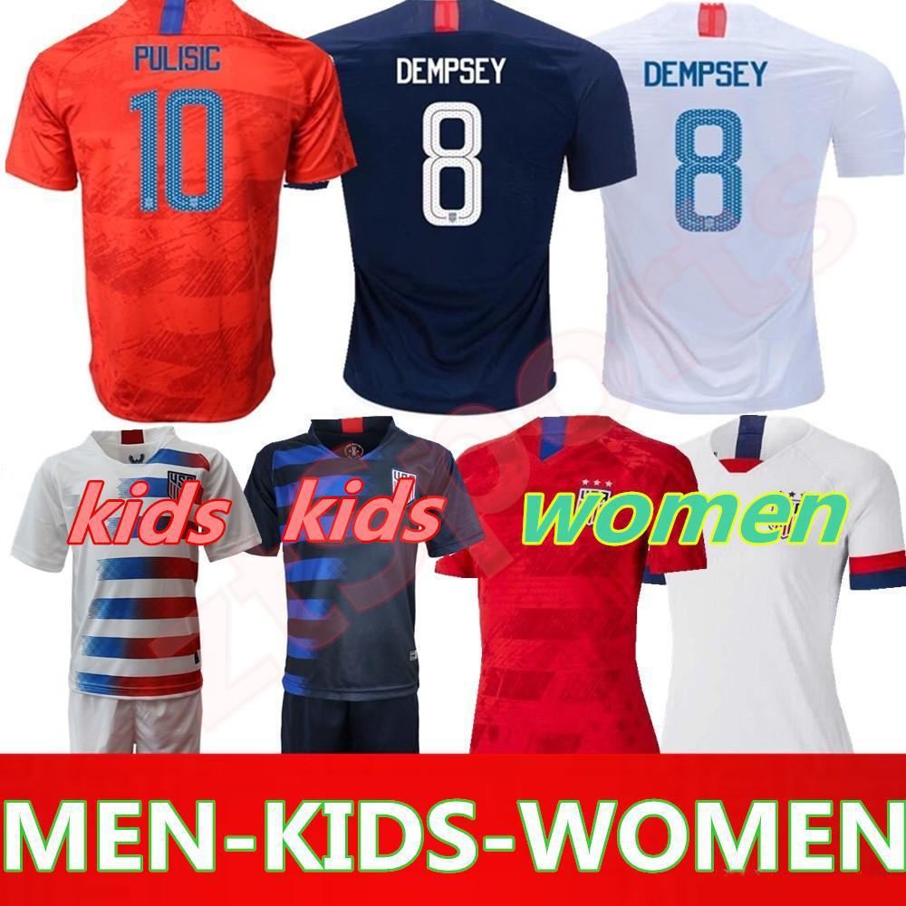 brand new 12446 72ad0 19 20 USA PULISIC Soccer Jersey 2019 men kids kit DEMPSEY BRADLEY ALTIDORE  WOOD America Football jerseys United States Shirt