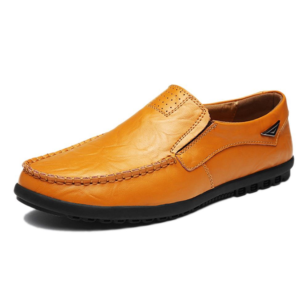 Leather Casual Shoes Men's Adult Rubber Slip-On Synthetic Breathable,Massage Cow Leather Spring/Autumn Genuine Flats