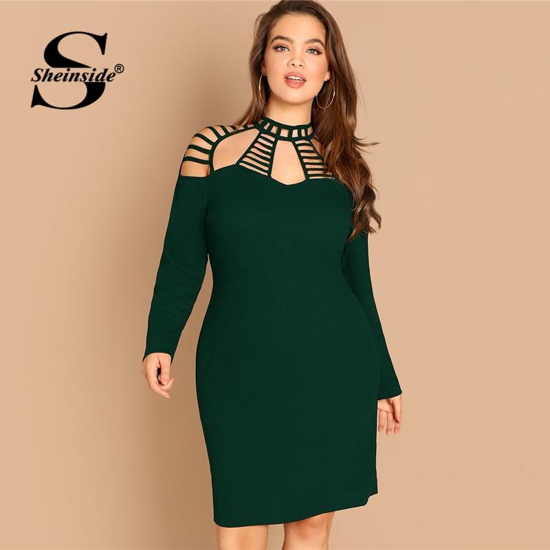 c6c9a86827ab Acquista Vendita All ingrosso Verde Plus Size Scaletta Tagliare Giogo Donne  Matita Vestito Elegante Aderente Abiti Da Festa Le Donne 2019 Womens Abito  Midi ...