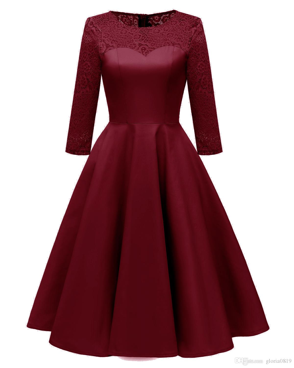 e8df51783e 2019 Vintage Lace Women Dresses Burgundy Jewel Neck Three Quarter Sleeves  Skater Dresses For Prom Party Holiday Short Midi Gowns From Gloria0819