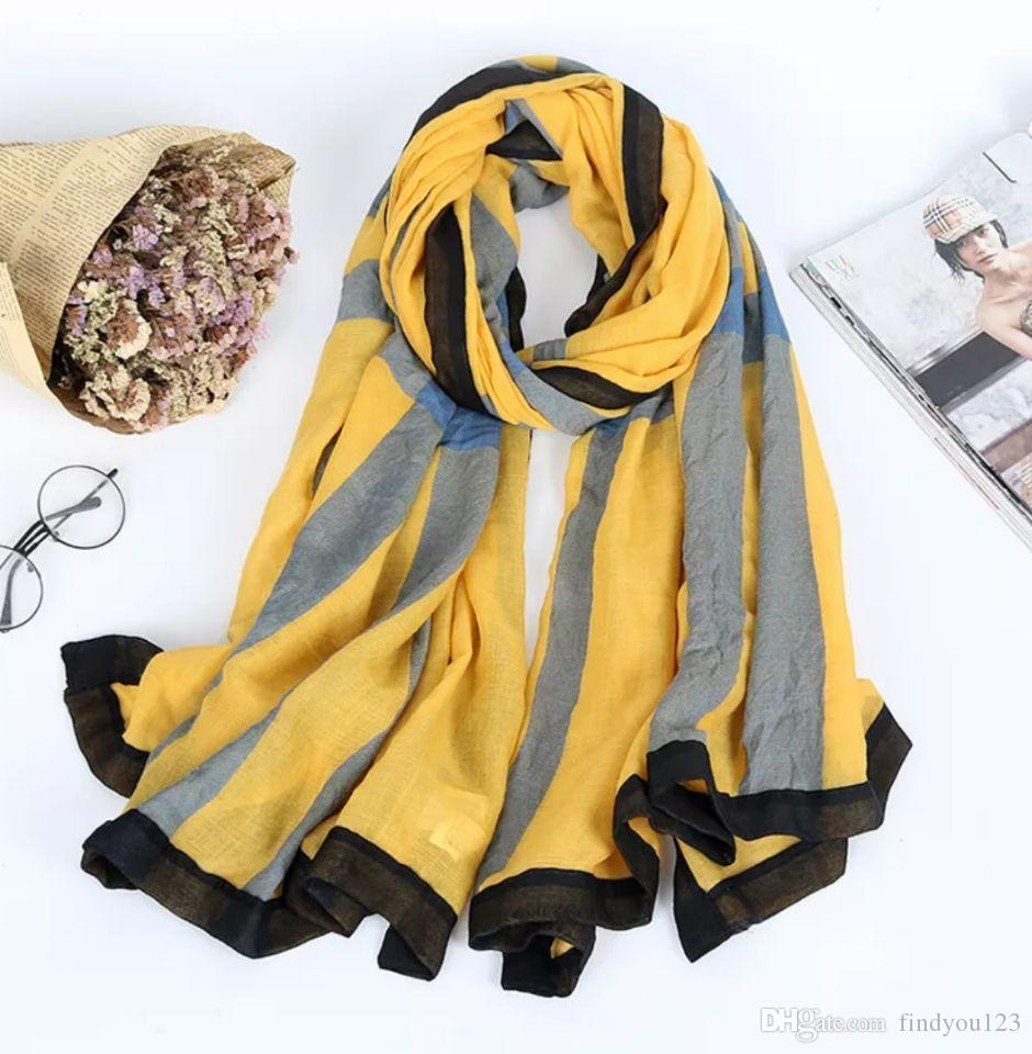 0222 Spring and autumn Korean color matching cotton hemp scarf women's art stripe super large shawl long dual-purpose scarf scarf