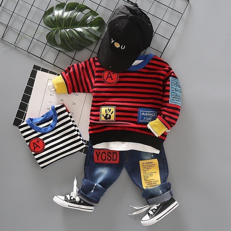 Compre Primavera Ropa Infantil Deportes Rayas De Color Caramelo Camiseta  Pantalones 2 Unids   Set Niños Toddler Chándal Bebé Niños Ropa De La  Muchacha Traje ... 5419c6c8c51