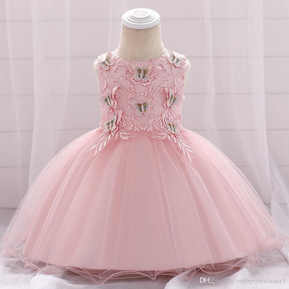 Baby Girl First Birthday Dress Child Butterfly sticker Flowers Wedding dress Pink Tulle Princess Dress For Wedding Party Kids Clothing