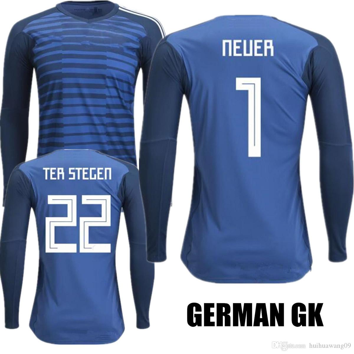 e09822ede 2019 2018 World Cup Long Sleeve Neuer Goalkeeper Jersey Neuer Soccer  Jerseys  22 Ter Stegen GK Muller OZIL Neuer Keeper Full Football Shirts  From ...