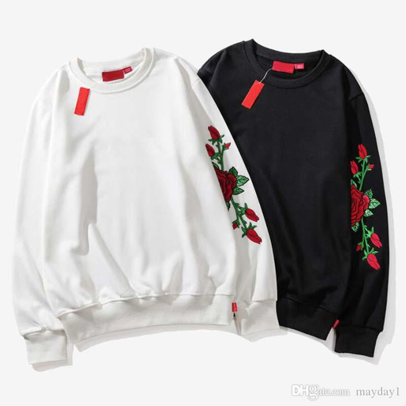 Tide Brand Men Hoodies Autumn Winter Thin Rose Embroidery O Neck Lover Hooded Sweatshirts Brand Pullover Men Clothing