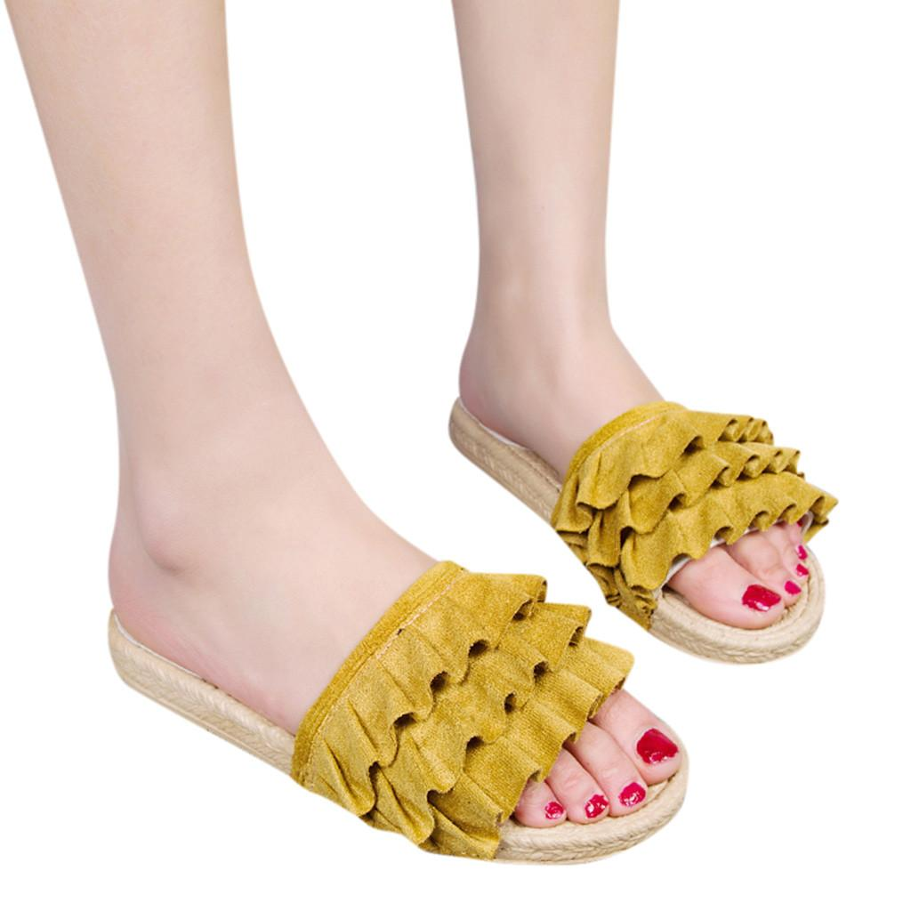 YOUYEDIAN Women Ladies Slipper Sexy Yellow Sandal Bohemian Style Loafers Casual Flat Shoes sandal femme chaussures femme ete#G40