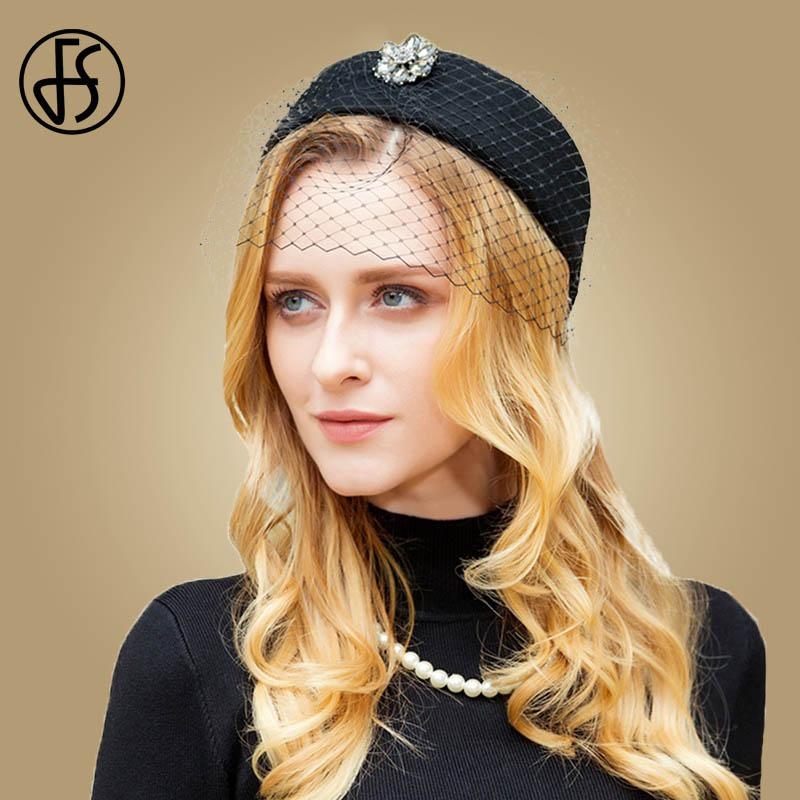 679740a2 2019 FS British Black Wool Pillbox Hat For Women With Veil Fall Winter  Wedding Fascinator Hats Vintage Ladies Formal Felt Cap From Junemay, $52.63  | DHgate.