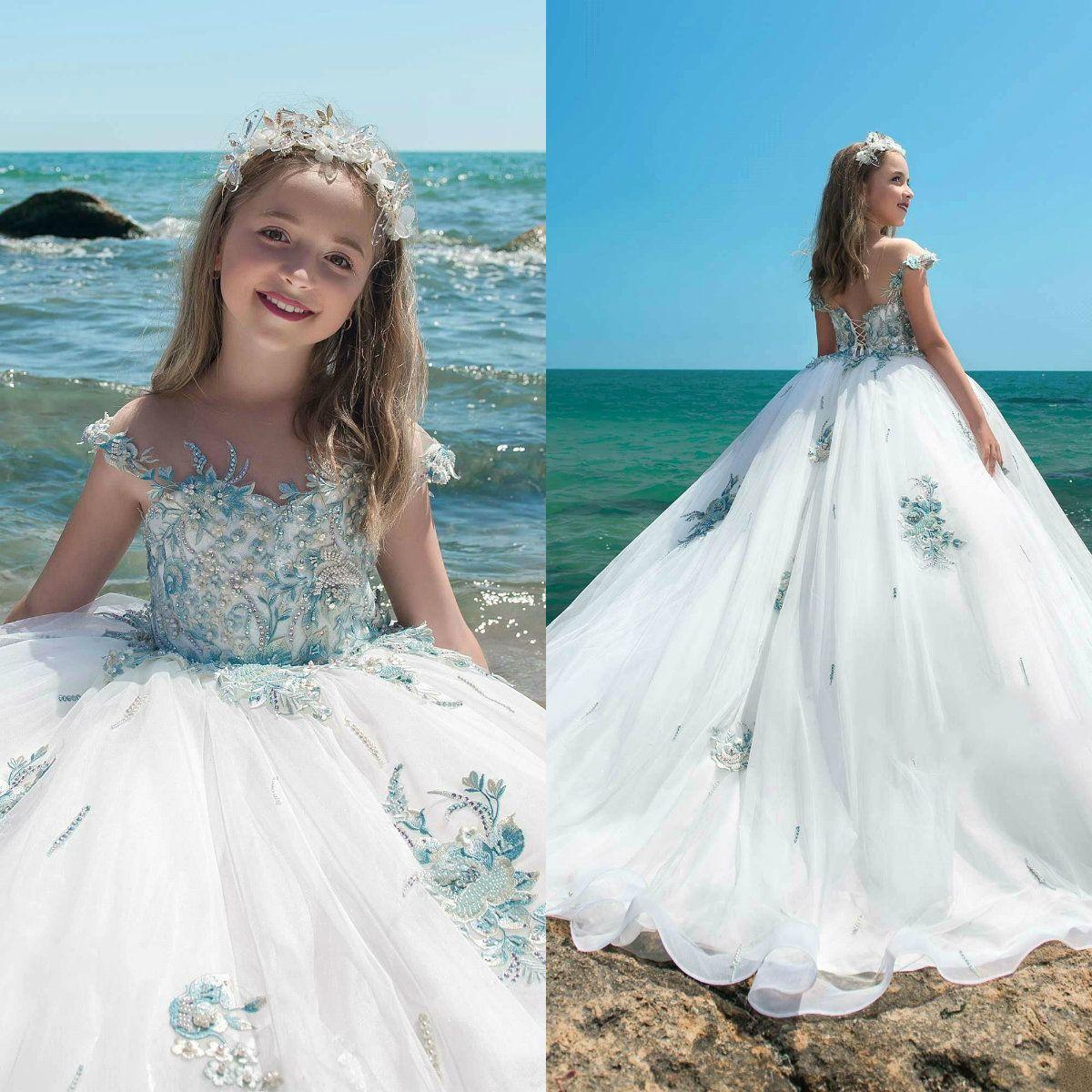 5ebc07f4b0a 2019 Pretty Flower Girl Dresses For Wedding Sheer Neck Lace Applique  Rhinestones Kids Designer Clothes Custom Made Girls Pageant Dresses Little  Girls ...