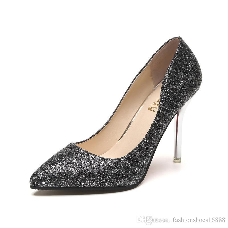 d7084d29598a Stiletto Sequins Glitter Heels Shallow Mouth Pointed Toe Shoes Europe  America New Fine Silver High Heels Champagne Black Pumps Women Navy Shoes  Driving ...