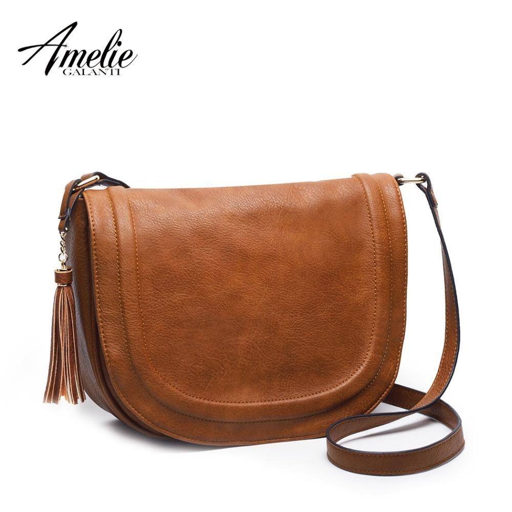Amelie Galanti Large Saddle Bag Crossbody Bags For Women Brown Flap Purses With Tassel Women Shoulder Bags Pu Leather Women Bag J190616