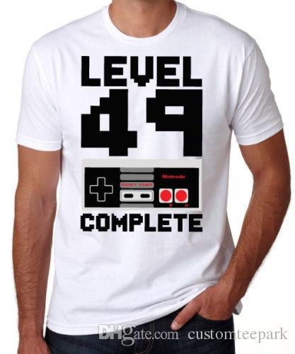 50th Birthday Level 49 Complete Video Game Son Dad Gift Present White T Shirt MenS Tailored Short Sleeve Custom 3XL Group Cam Shirts Funky