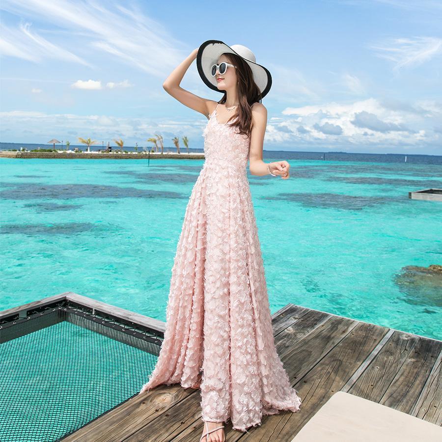 Acquista Abito Da Sposa Donna Bianco Rosa Tassel Feathers Lungo Party  Fidanzamento Sera Prom Maldive Holiday Maxi Abiti A  37.19 Dal Clothes zone   d1f7c7610b4