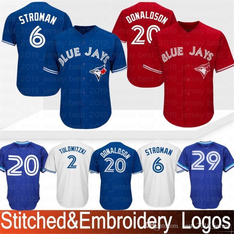 05f7e233aaa Cheap Embroidery Toronto Blue Jays Baseball Jersey 19 Jose Bautista 6  Marcus Stroman 11 Kevin Pillar 20 29 Joe Carter 2 12 Roberto Alomar Stitched