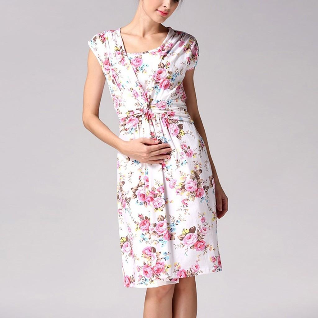 5790f9919cdd1 MUQGEW Women's Dress Maternity Photography Props Floral Print Clothes for Pregnant  Breastfeeding Dress Casual Nursing Sundress
