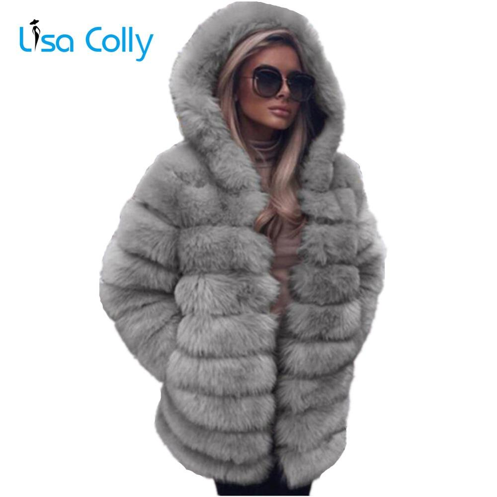 435e4e523a9 2019 Lisa Colly Women Faux Fur Coat Winter Faux Fox Fur Jacket Women ...