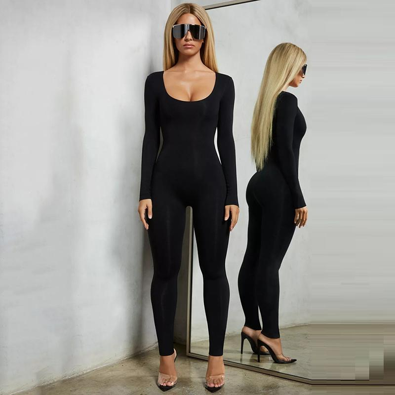 Sexy Solid Color O-neck Skinny Bodysuits Women 2019 New Spring Autumn Keep Warm Long Sleeve Bodycon Bodysuit