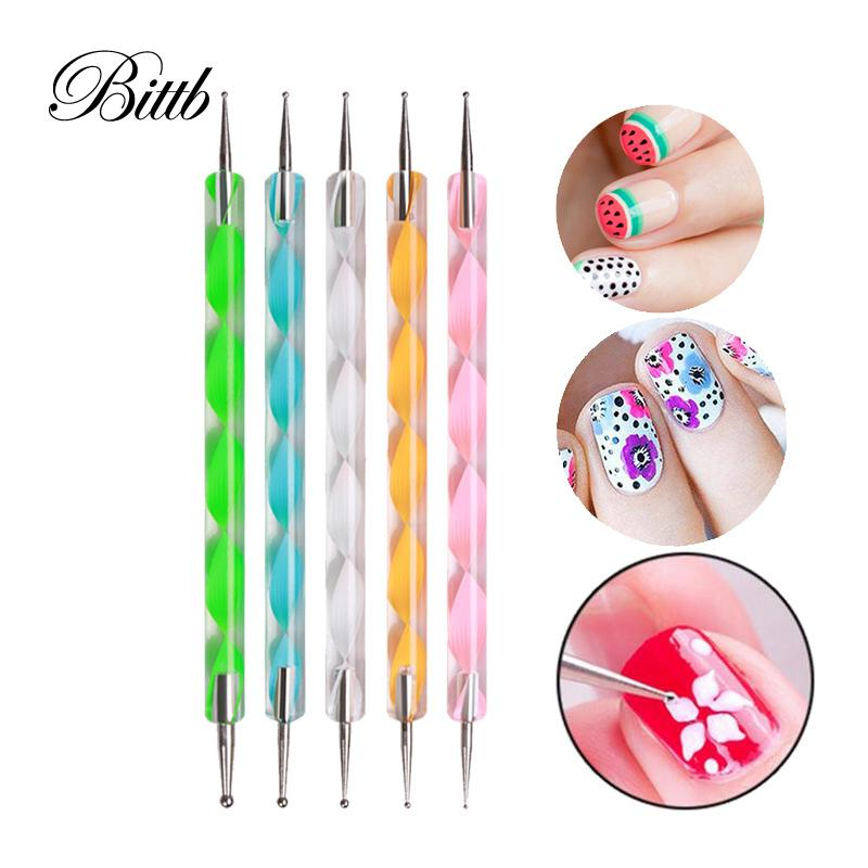 Bittb 5pcs Nail Art Tool Marbleizing Nail Dotting Painting Drawing Pen Dots  Manicure Accessoires Tools for Nail Design