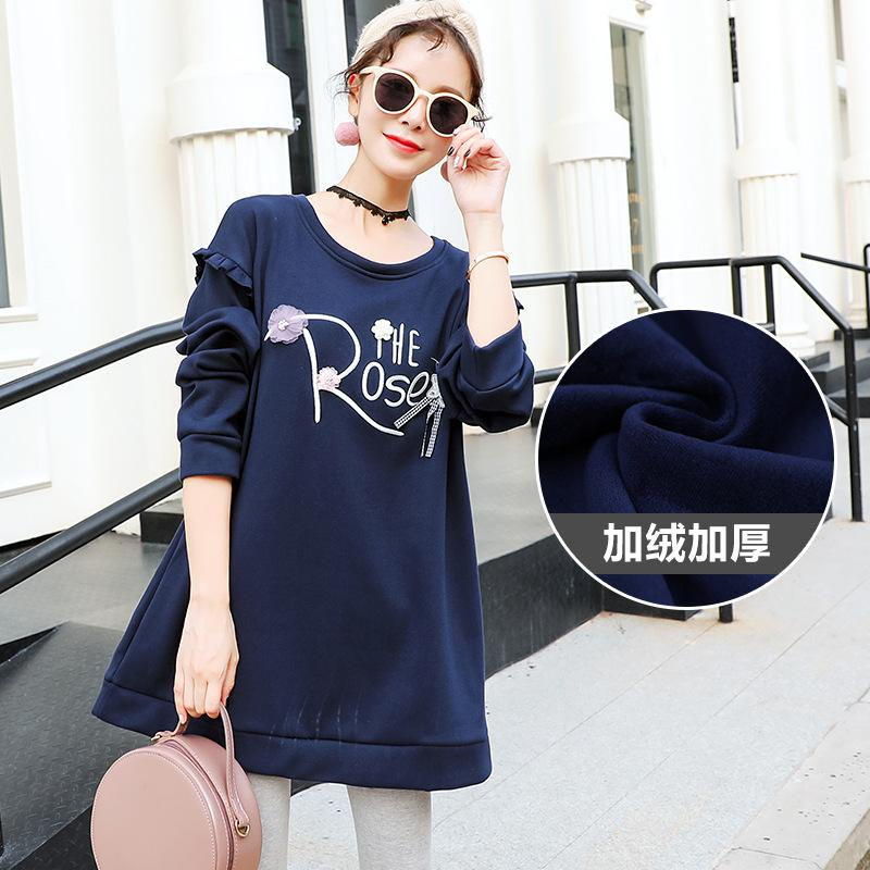 Pregnant Women Autumn Plus Velvet Beading Flower Letter Printing T Shirt  Tops Maternity Clothes Pregnancy Thick Warm Fleece Tops Tees Cheap Tees  Pregnant ... c53bf6f1dc89