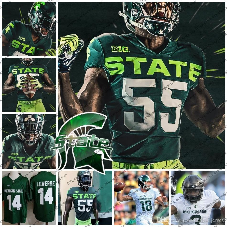 differently c5ec9 b6f41 Custom 2019 Michigan State Spartans New Football Jersey Any Name Number 3  LJ Scott 18 Kalon Gervin 28 Jon Reschke MSU S-4XL