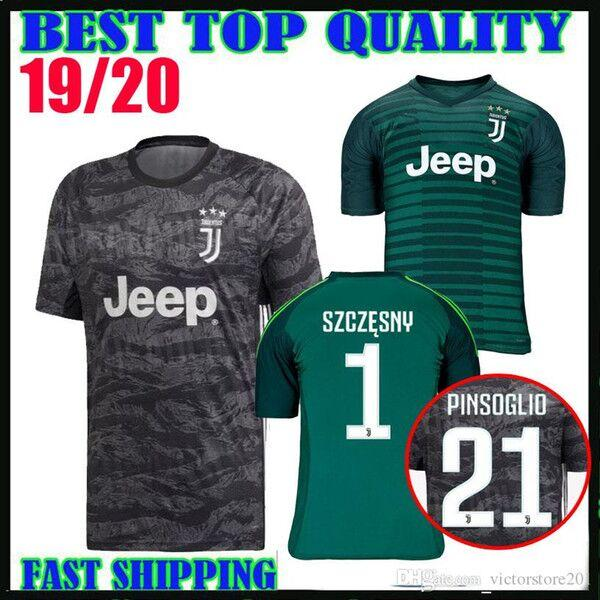 size 40 2b958 df620 19 20 juventus goalkeeper soccer jersey green black 2019 2020 #1 SZCZESNY  #21 PINSOGLIO #22 PERIN #1buffon portiere football shirts thailand