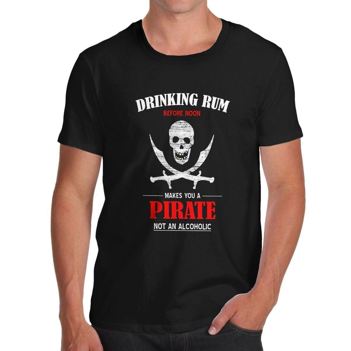 Men s Drinking Rum Before Noon Funny T-Shirt Male Best Selling T Shirt Top  Quality T Shirts Men O Neck High Quality T-Shirt