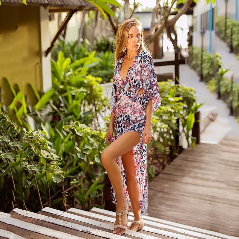 3eba031d7e607 2019 Bikini Cover Up Bathing Suit Women Ups Swimwear Ladies Pareo Beach  Saida De Praia Female Kaftan Tunic 2019 New Bat Long Sleeve From  Ericgordon, ...