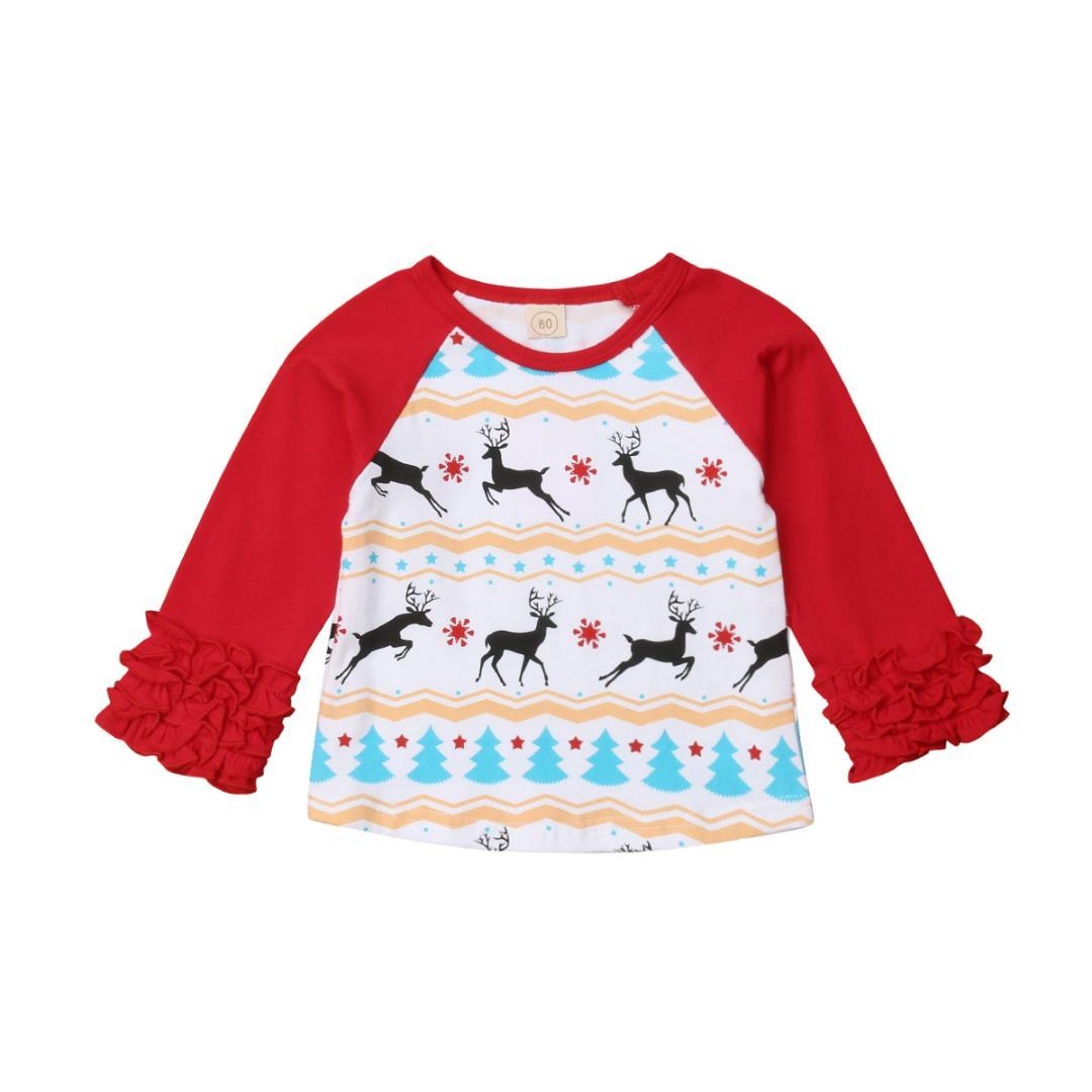 c352059542c8b Pudcoco Christmas Newborn Kids Baby Boys Girls Deer Ruffle Tops T-shirt Tee  Shirts Baby Girls Clothes