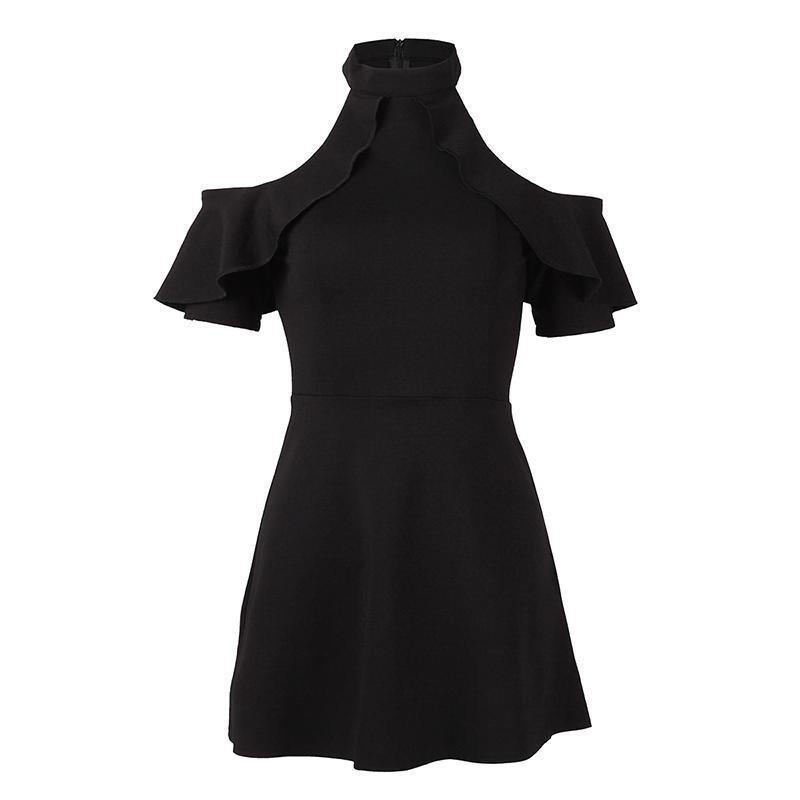 66bce6f552ed Mini vestido gótico de las mujeres de manga corta negro de verano sin  tirantes con volantes O-cuello Falbala una línea de cintura Sexy vestido de  ...