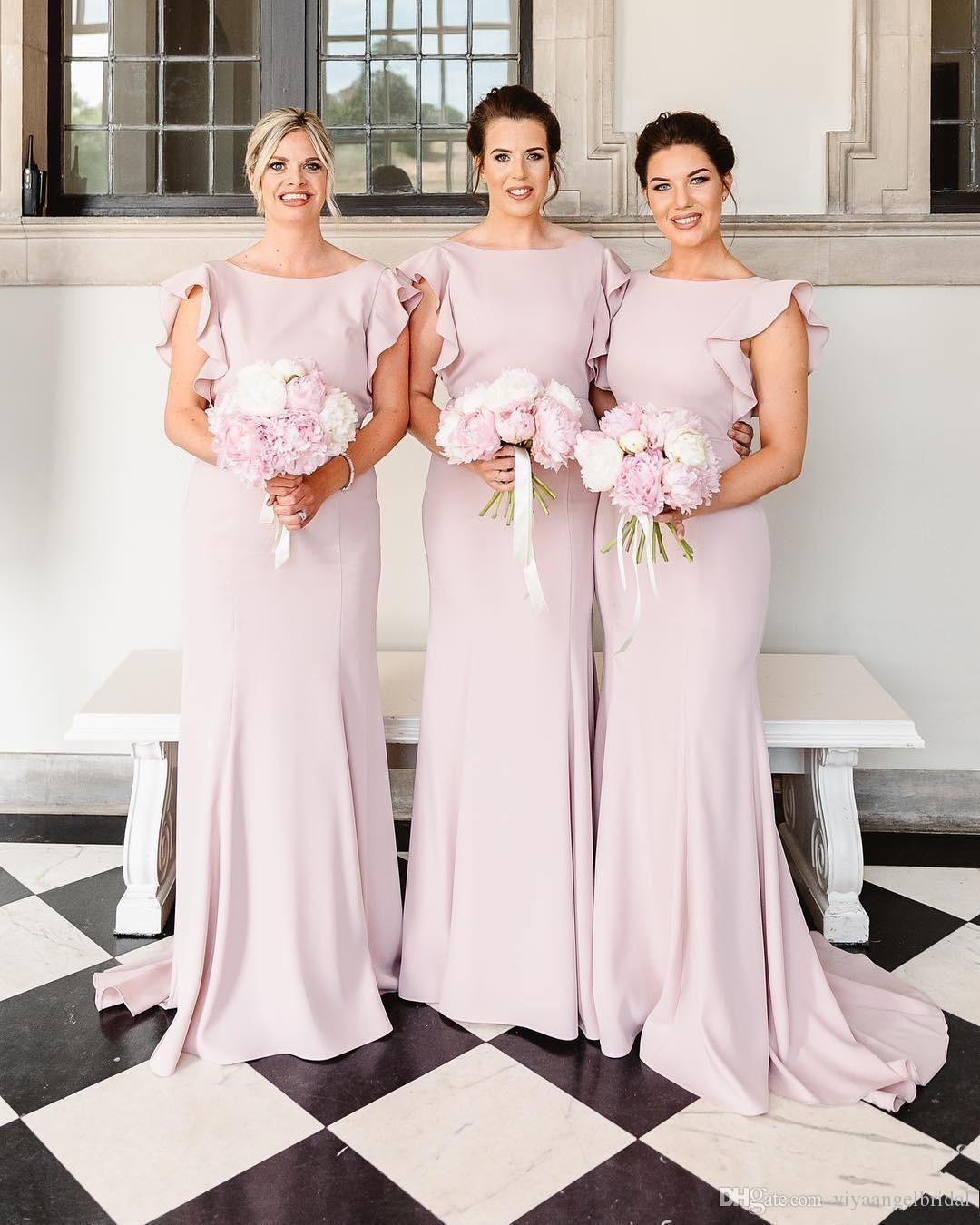 Fashion Cheap 2019 Mermaid Bridesmaid Dresses Crew Neck Ruffles Sleeves V  Back Satin Backless Floor Length Arabic Wedding Guest Gowns Custom  Bridesmaid ... 1d948a86afda