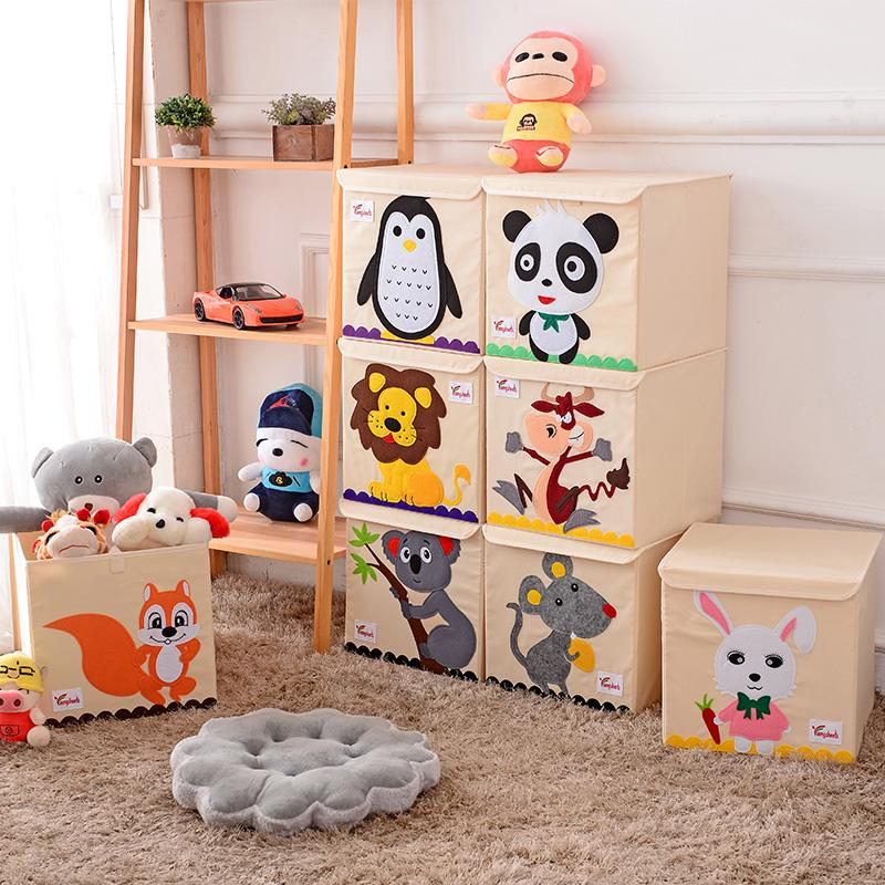 Hot Childrens Fabric Toy Storage Bins Foldable Oxford Cloth Cube Box for Kids 13 inch Room Tidy Organizes with lid storage