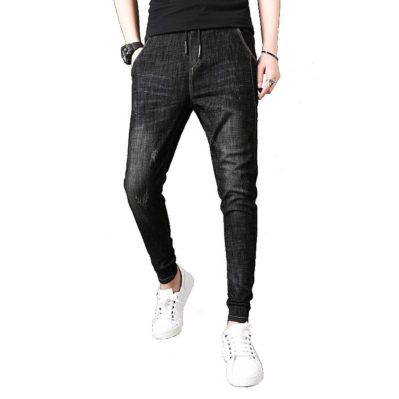 Acheter Mode 2019 Nouveaux Jeans Homme Marque Slim Fit Solide Tous Les  Matchs Denim Hommes Jeans Mid Taille Casual Simple Pantalon Hip Hop Hommes  36 28 De