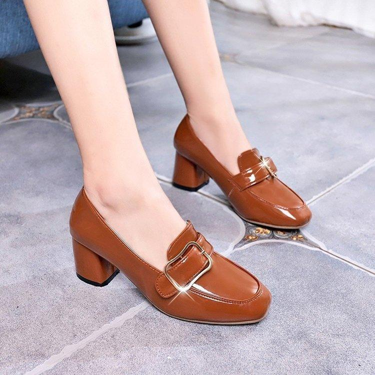 abe1e5b8ee7d Dress Shoes Size 35 39 Office Ladies High Heel Woman Metal Buckle Square  Toe Thick Heel Pumps Solid Color Women Footwears Men Sandals Best Shoes  From Deal3