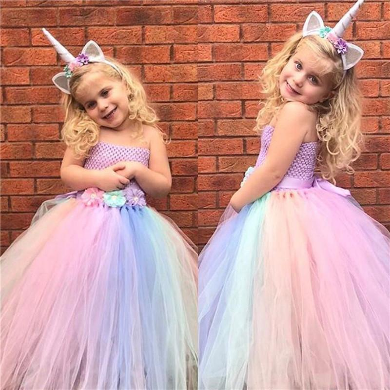 450edfb4db50f Girls Unicorn Flower Dress Kids Pastel Tutu Dress Crochet Tulle Dresses  With Hairbow Set Ball Gown Children Party Costumes Dress Q190522