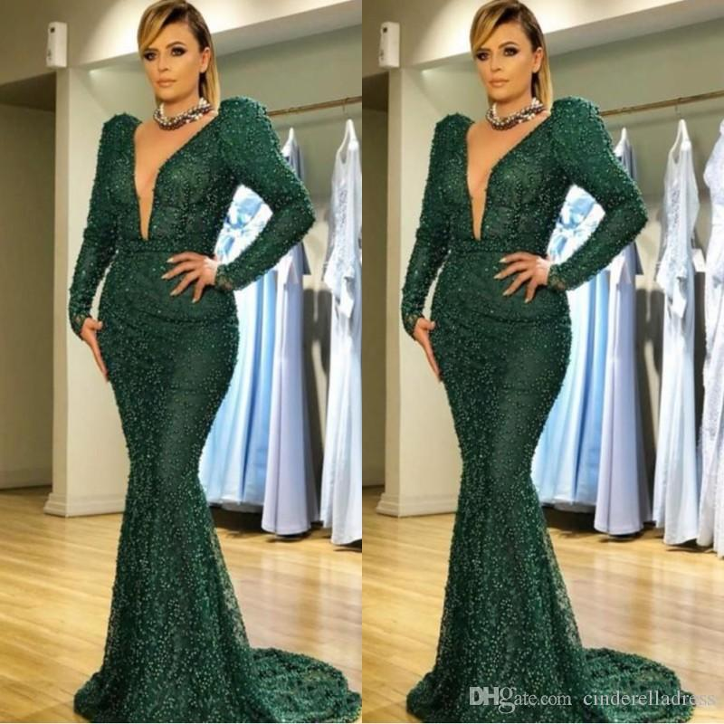 066aaafac09 New Zuhair Murad Dark Green Mermaid Prom Dresses 2019 Sexy V Neck Pearls  Dot Evening Dress Long Sleeves Formal Plus Size Party Gowns Gothic Prom  Dress ...