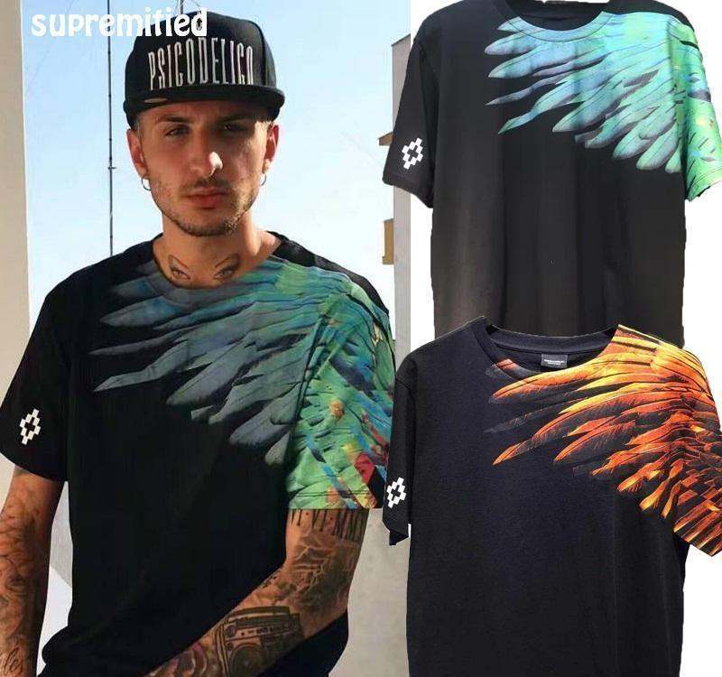 Wholesale- Marcelo Burlon SUPREMITIED T Shirt Men Eagle Wings High Quality Catton Brand Clothing Hip Hop Paris Box Logo Tshirt MB Tops Tees