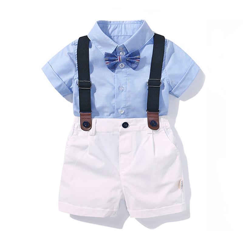 Acquista Abbigliamento Ragazzi Set Neonato Compleanno Vestito Estivo Fiocco  Neonato Completo Neonato T Shirt Blu Tops + Pantaloni Con Bretelle Completo  A ... dbbb5f03aca