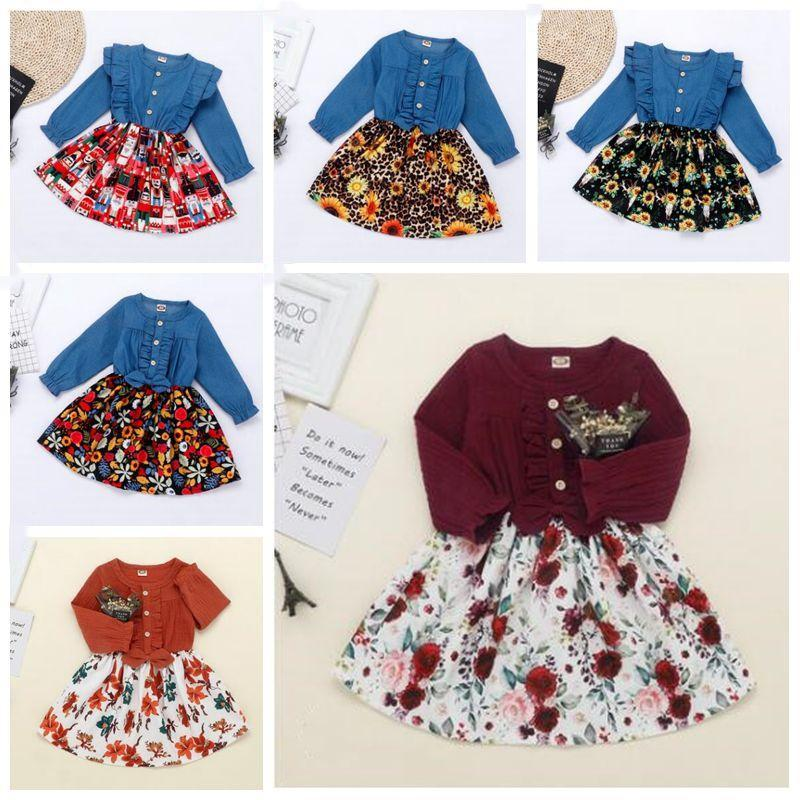 Vêtements bébé filles Robes enfants Denim floral Princesse Robes Cartoon coton imprimé lin Robe à volants Robe manches longues ronde BZYQ6830