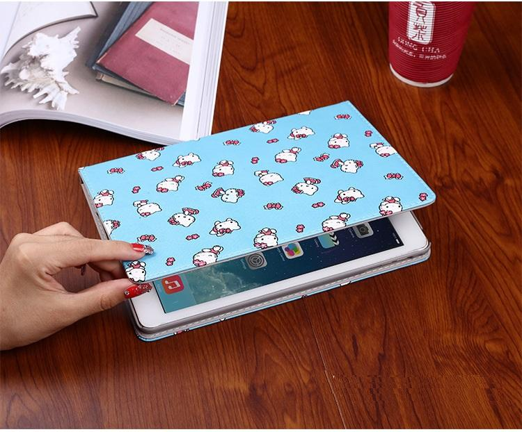 For 2017 new iPad case cute cartoon Kitty Duck Leather Wallet Stand Flip Case Smart Cover for iPad 2 3 4 Pro 9.7 Air 2 Mini 2 3 4 5 Pro 10.5