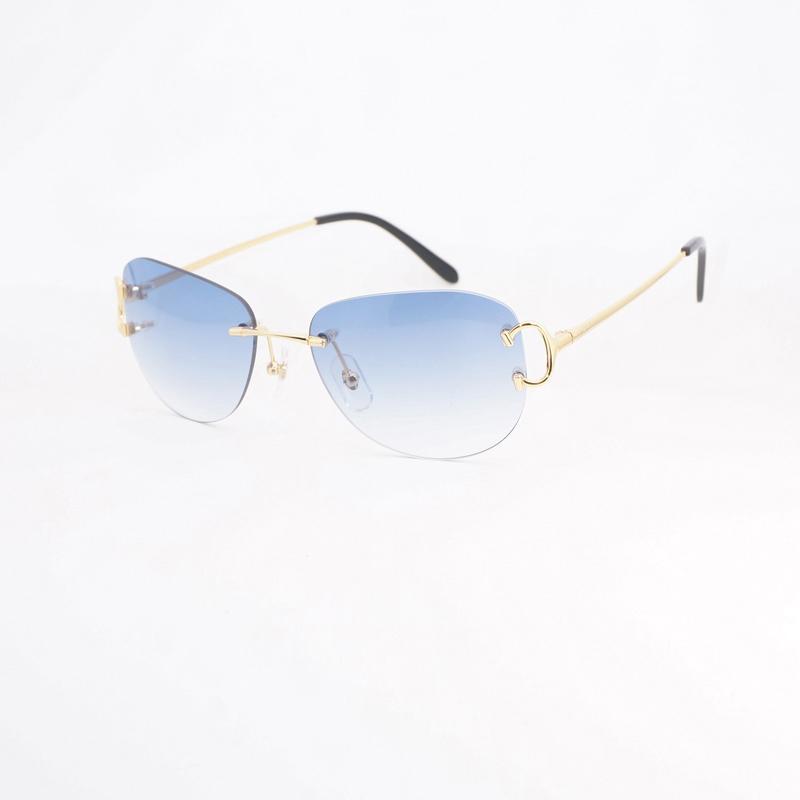 21afcddf2fde7 Compre Retro Oval Óculos De Sol Dos Homens Sem Aro Óculos De Armação De  Metal Shads Para O Clube Ao Ar Livre Do Vintage Óculos De Sol Oculos Gafas  De ...