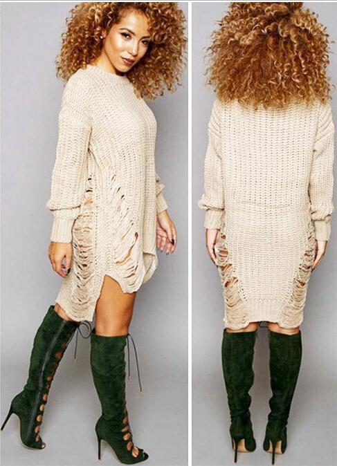 1ff1c7e639f91 Spring Hottest Women Ripped Out Sweater And Pullover Asymmetrical Oversized  Tricot Knitwear Sexy Dress American Style X0080 Online with  22.35 Piece on  ...