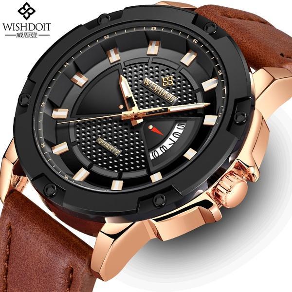 9e19cc3e9fd3 Compre WISHDOIT Relojes Para Hombre De Primeras Marcas De Lujo Para Hombres  Reloj Deportivo Deportivo Hombre De Cuero Impermeable Reloj De Cuarzo  Relogio ...