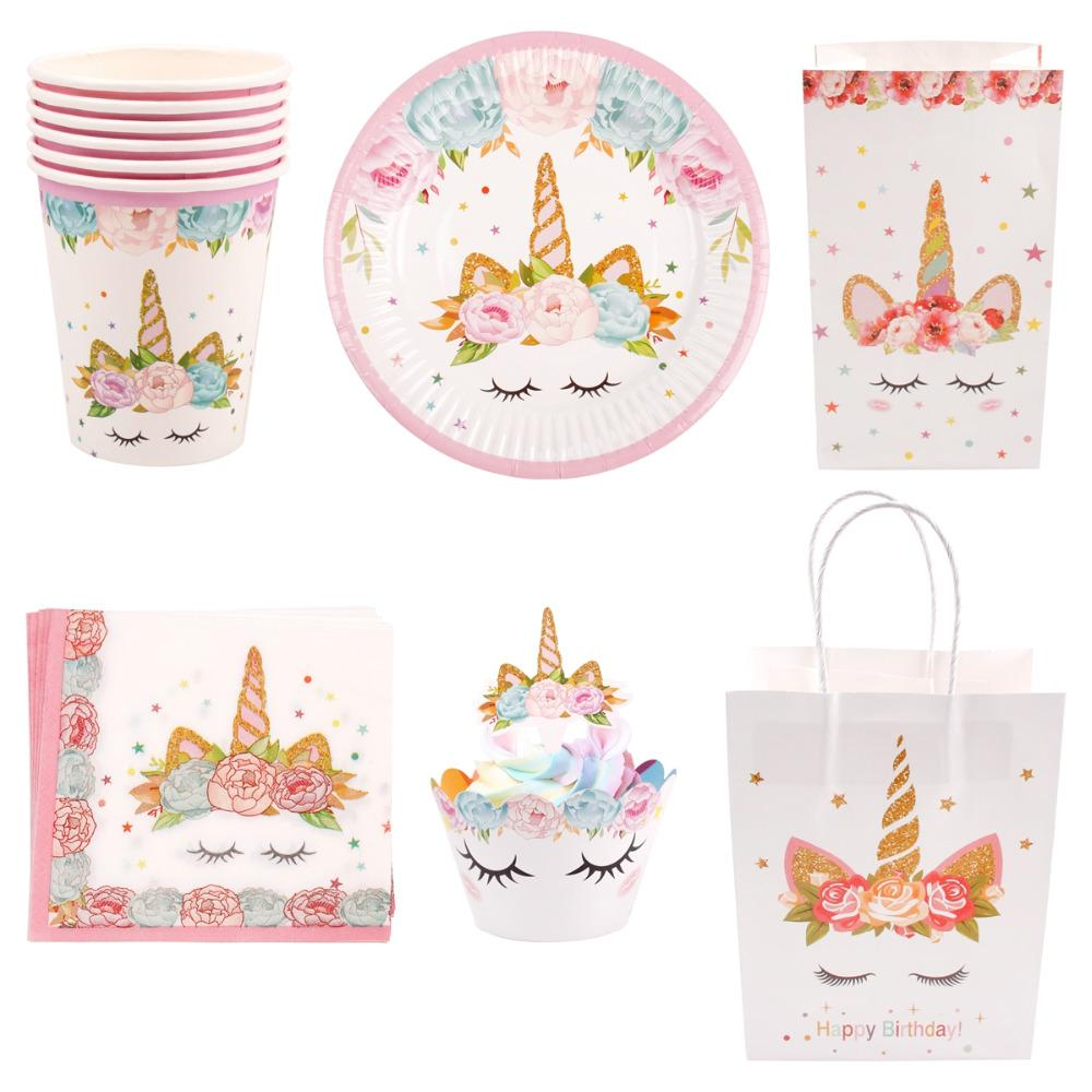 QIFU Unicorn Birthday Party Supplies Decoration Kit Unicorn Party Bags Baby Shower Unicornio Gift Bag Candy Box Goodie Bags