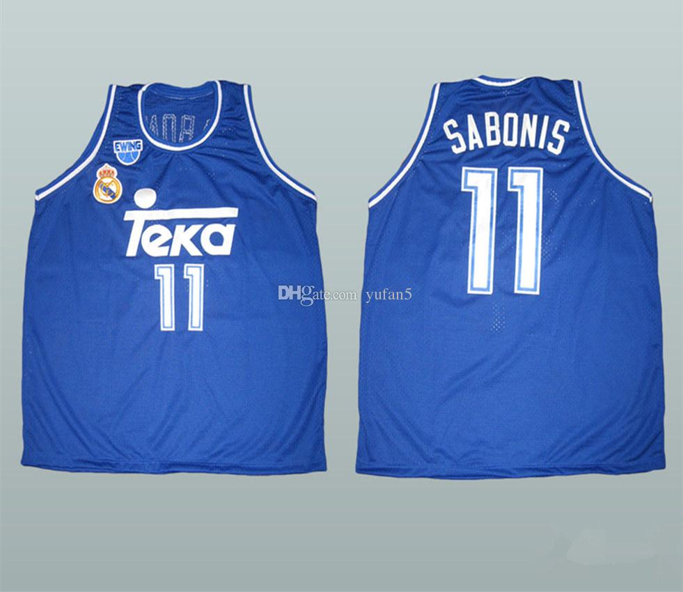 competitive price ca2c2 19c47 Arvydas Sabonis #11 Real Madrid Retro Basketball Jersey Mens Stitched  Custom Any Number Name Jerseys