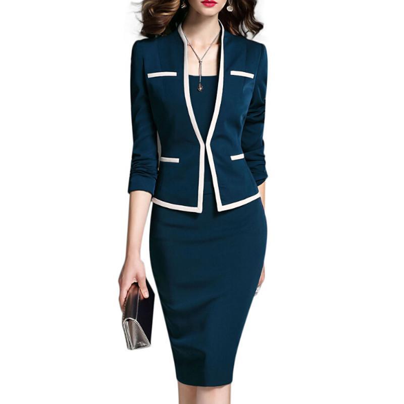 Compre Vestido De Traje De Mujer Oficina De Trabajo Para Damas Con Chaqueta  Blazer Set 2018 Moda Femenina Ropa De Marca Ropa De Marca Plus Size 5XL 6XL  A ... 9d29e8970e6f