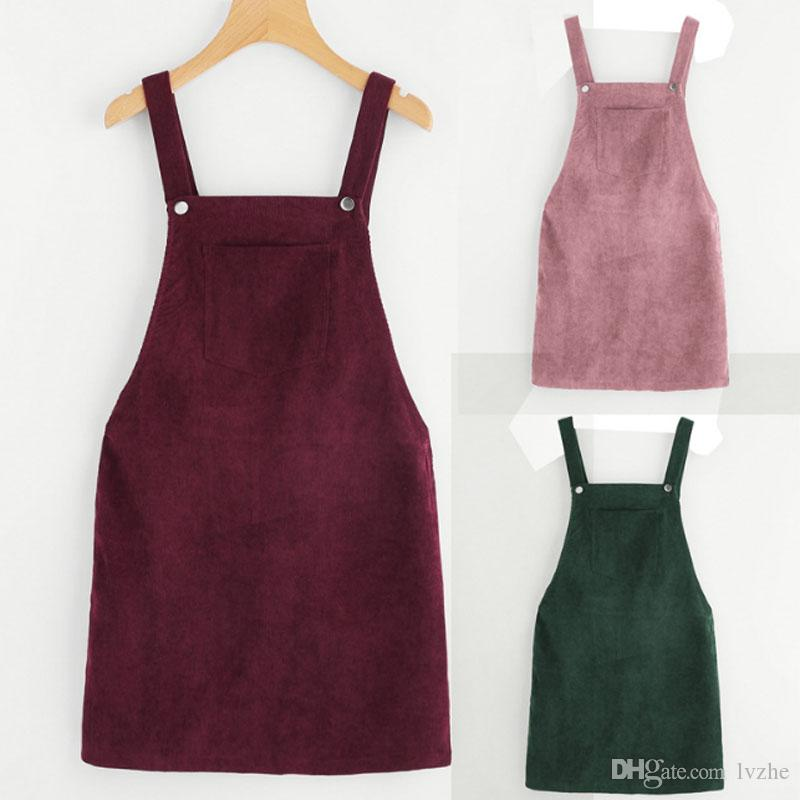 2019 New Womens Ladies Pocket Pinafore Dungaree Mini Skater Corduroy A-Line Dress 3 Colors 5 Size