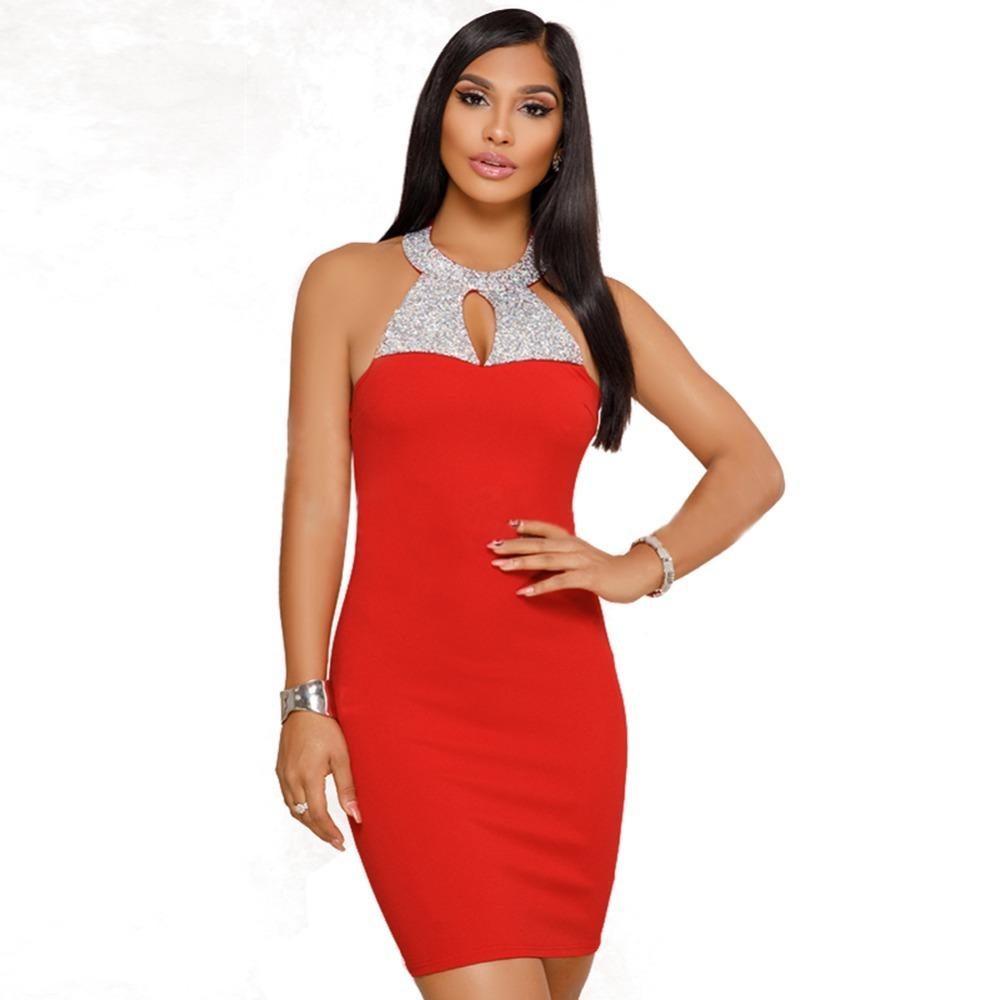 570e165b6ce Acheter Femmes Sexy Halter Neck Dress Brillant Strass Dos Nu Robe D été  2019 Élégant Bodycon Club Robes De Soirée Noir   Rouge Vestidos De  29.13  Du ...