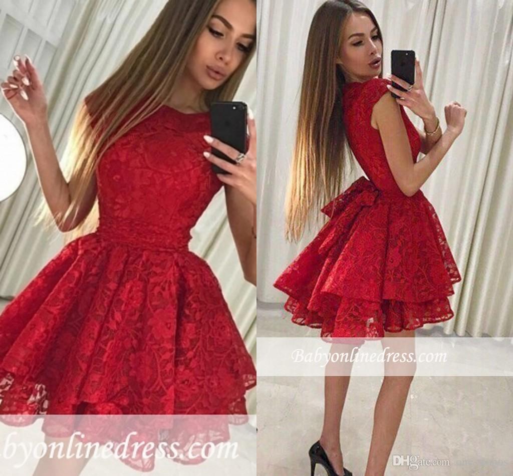 d001d78127946 Satın Al 2019 Kırmızı Dantel Mezuniyet Elbiseleri A Hattı Sevimli Kokteyl  Elbise Tatlı Örgün Parti Törenlerinde Kısa Balo Abiye Elbise, $102.1 |  DHgate.