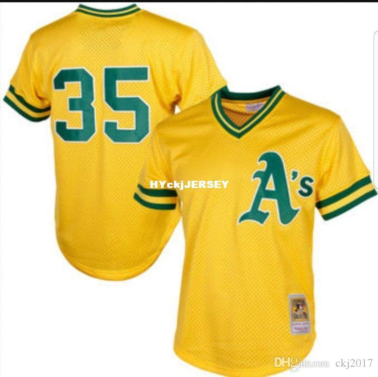 Cheap Mitchell & Ness Henderson #35 Yellow Mesh Batting Practice Jersey A'S Throwbacks Mens stitched baseball jerseys