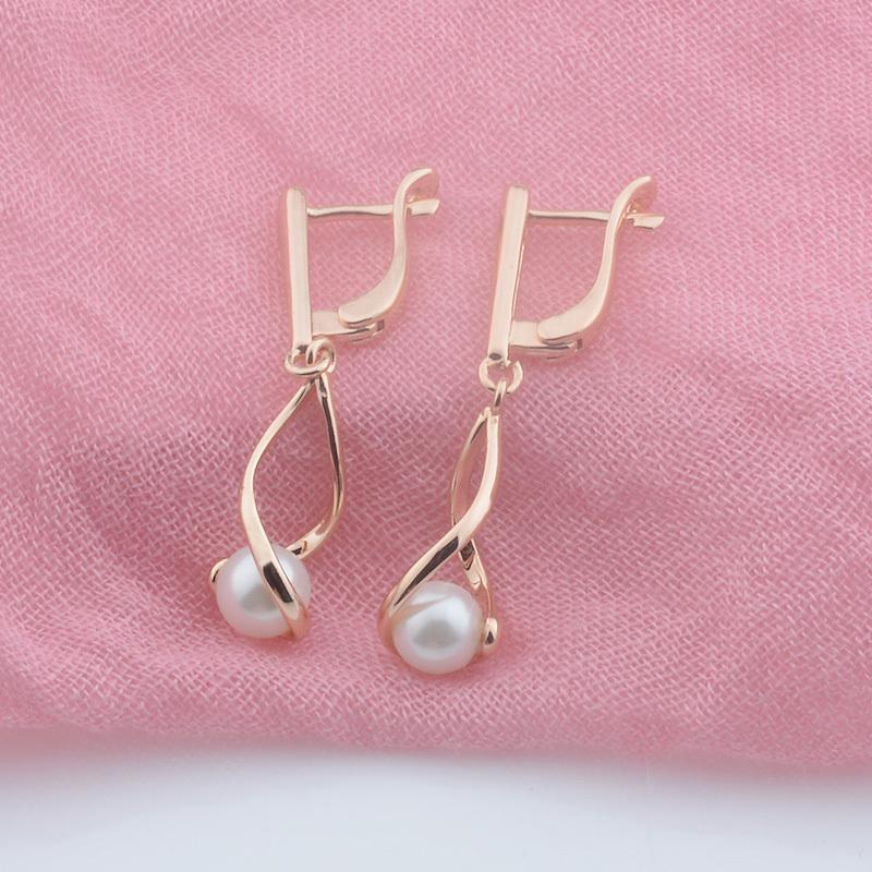 FJ 3 Style Women 585 Rose Gold Color Simulated Pearl Long/Snap New Fashion Drop Earrings